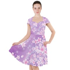 Japanese Sakura Background Cap Sleeve Midi Dress