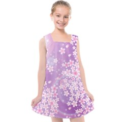 Japanese Sakura Background Kids  Cross Back Dress