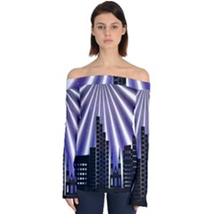 Superhero Background Lights City Off Shoulder Long Sleeve Top