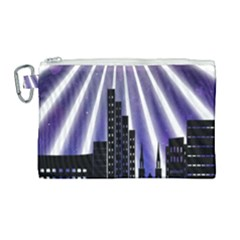 Superhero Background Lights City Canvas Cosmetic Bag (large) by Wegoenart