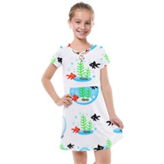 Fishbowl Fish Goldfish Water Kids  Cross Web Dress