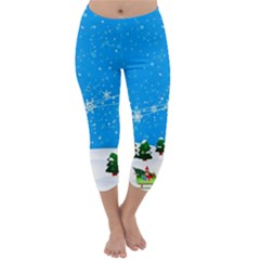 Elf On A Shelf In Sled Snowflakes Capri Winter Leggings