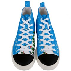 Elf On A Shelf In Sled Snowflakes Men s Mid Top Canvas Sneakers