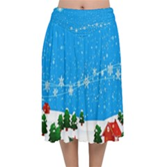 Elf On A Shelf In Sled Snowflakes Velvet Flared Midi Skirt