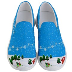 Elf On A Shelf In Sled Snowflakes Men s Lightweight Slip Ons