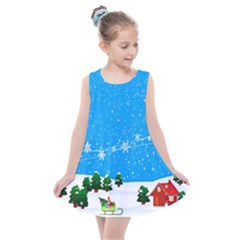Elf On A Shelf In Sled Snowflakes Kids  Summer Dress