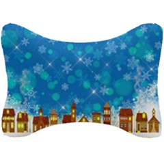 Winter Village Snow Brick Buildings Seat Head Rest Cushion