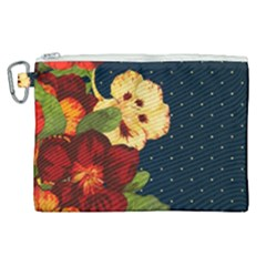 Flowers Vintage Floral Canvas Cosmetic Bag (xl)
