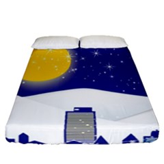 Night Christmas Background Moon Snow Fitted Sheet (queen Size)