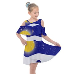 Night Christmas Background Moon Snow Kids  Shoulder Cutout Chiffon Dress