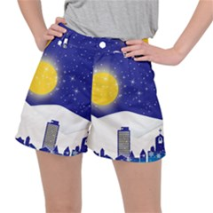 Night Christmas Background Moon Snow Stretch Ripstop Shorts