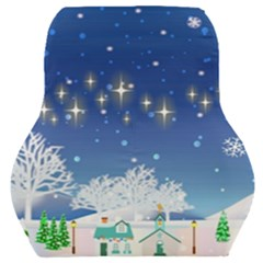 Snowflakes Snowy Landscape Reindeer Car Seat Back Cushion
