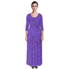 Purple Speckled Quarter Sleeve Maxi Dress by 1dsign