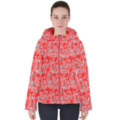 Red Flora Women s Hooded Puffer Jacket by 1dsign