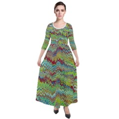 Cool Green Marbled Quarter Sleeve Maxi Velour Dress