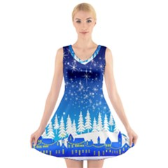 Snowflakes Snowy Landscape Reindeer V Neck Sleeveless Dress