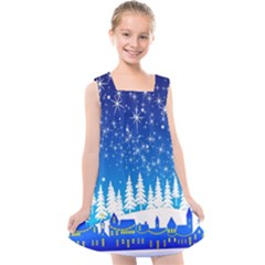 Snowflakes Snowy Landscape Reindeer Kids  Cross Back Dress