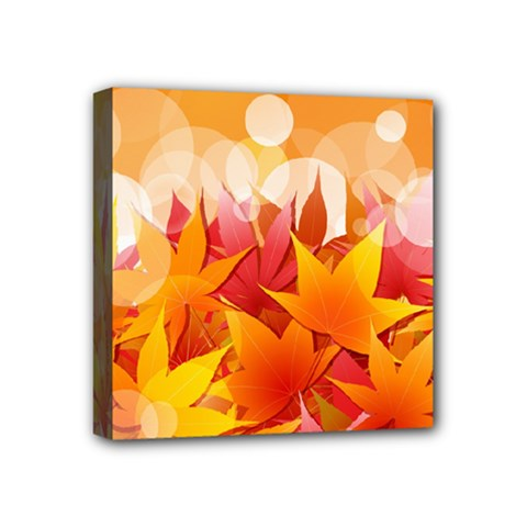 Autumn Background Maple Leaves Bokeh Mini Canvas 4  X 4  (stretched)