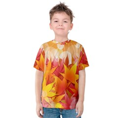Autumn Background Maple Leaves Bokeh Kids  Cotton Tee