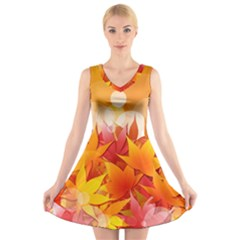 Autumn Background Maple Leaves Bokeh V Neck Sleeveless Dress by Wegoenart
