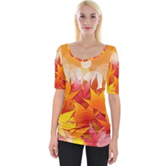 Autumn Background Maple Leaves Bokeh Wide Neckline Tee