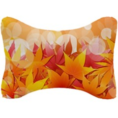 Autumn Background Maple Leaves Bokeh Seat Head Rest Cushion