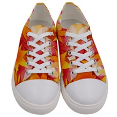 Autumn Background Maple Leaves Bokeh Women s Low Top Canvas Sneakers