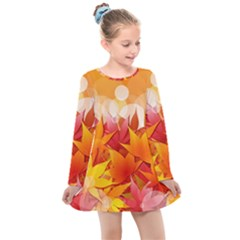 Autumn Background Maple Leaves Bokeh Kids  Long Sleeve Dress by Wegoenart