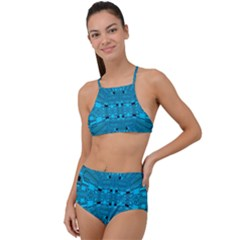 Technology Board Trace Digital High Waist Tankini Set by Wegoenart