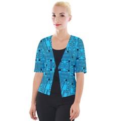 Technology Board Trace Digital Cropped Button Cardigan