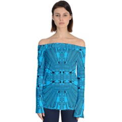 Technology Board Trace Digital Off Shoulder Long Sleeve Top