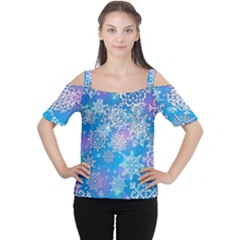 Snowflake Background Blue Purple Cutout Shoulder Tee