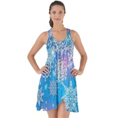 Snowflake Background Blue Purple Show Some Back Chiffon Dress by Wegoenart