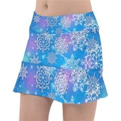 Snowflake Background Blue Purple Tennis Skirt