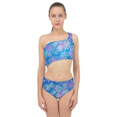 Snowflake Background Blue Purple Spliced Up Two Piece Swimsuit