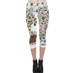 Peacock Graceful Bird Animal Capri Leggings