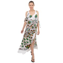 Peacock Graceful Bird Animal Maxi Chiffon Cover Up Dress