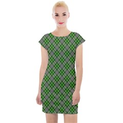 Lumberjack Plaid Buffalo Plaid Green White Cap Sleeve Bodycon Dress by Wegoenart