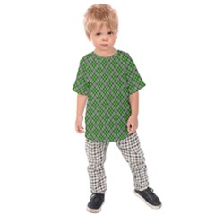 Lumberjack Plaid Buffalo Plaid Green White Kids Raglan Tee