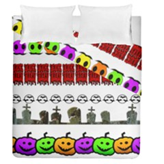 Halloween Borders Trick Or Treat Duvet Cover Double Side (queen Size)