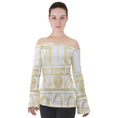 a8232b33211c09 Gold Foil Notre Dame Church Paris Off Shoulder Long Sleeve Top by Wegoenart
