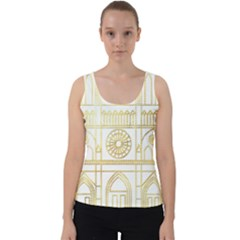 1cd59ce9abef00 Gold Foil Notre Dame Church Paris Velvet Tank Top by Wegoenart