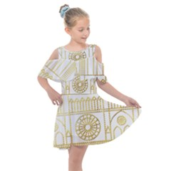 Gold Foil Notre Dame Church Paris Kids  Shoulder Cutout Chiffon Dress