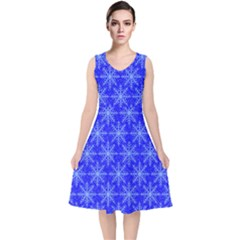 Snowflake Digital Paper V Neck Midi Sleeveless Dress