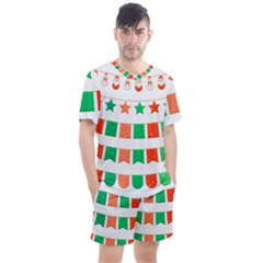 Christmas Bunting Banners Tassel Men s Mesh Tee And Shorts Set