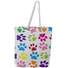 Paw Print Paw Prints Background Full Print Rope Handle Tote (large)