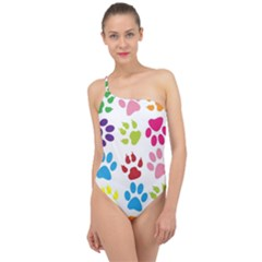 Paw Print Paw Prints Background Classic One Shoulder Swimsuit