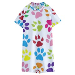 Paw Print Paw Prints Background Kids  Boyleg Half Suit Swimwear