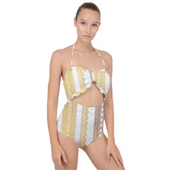Lace Gold Euclidean Vector Scallop Top Cut Out Swimsuit