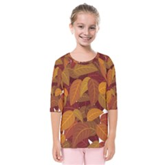 Leaves Pattern Kids  Quarter Sleeve Raglan Tee